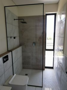 Black shower panel
